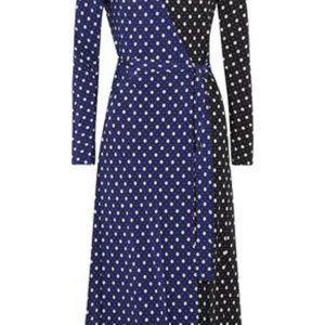 DVF black and blue dots silk maxi wrap dress sz 12
